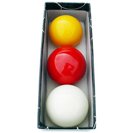 Carom Billiard Balls: White, Yellow, Red