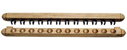 Roman Style 2 pc Wall Rack, Oak, 12 Pool Cues