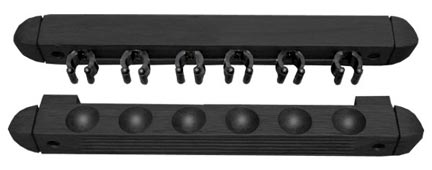 Roman Style 2 pc Wall Rack, Black, 6 Pool Cue