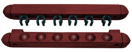 Roman Style 2 pc Wall Rack, Mahogany, 6 Pool Cue