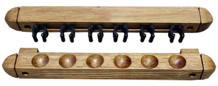 Roman Style 2 pc Wall Rack, Oak, 6 Pool Cue