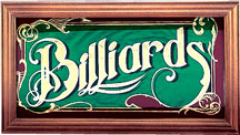 Mirrored Billiards Sign w/ Wood Frame
