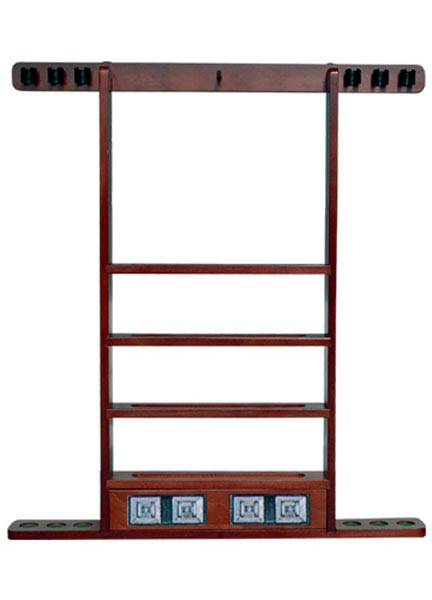 Sterling Economy Wall Rack, Mahogany 6 Cue And Ball Wall Rack w/
