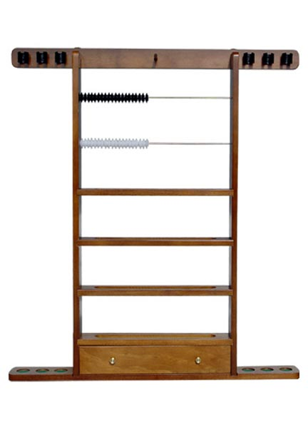 Sterling Economy Wall Rack, 6 Cues/ Ball Rack with Drawer/Scorin
